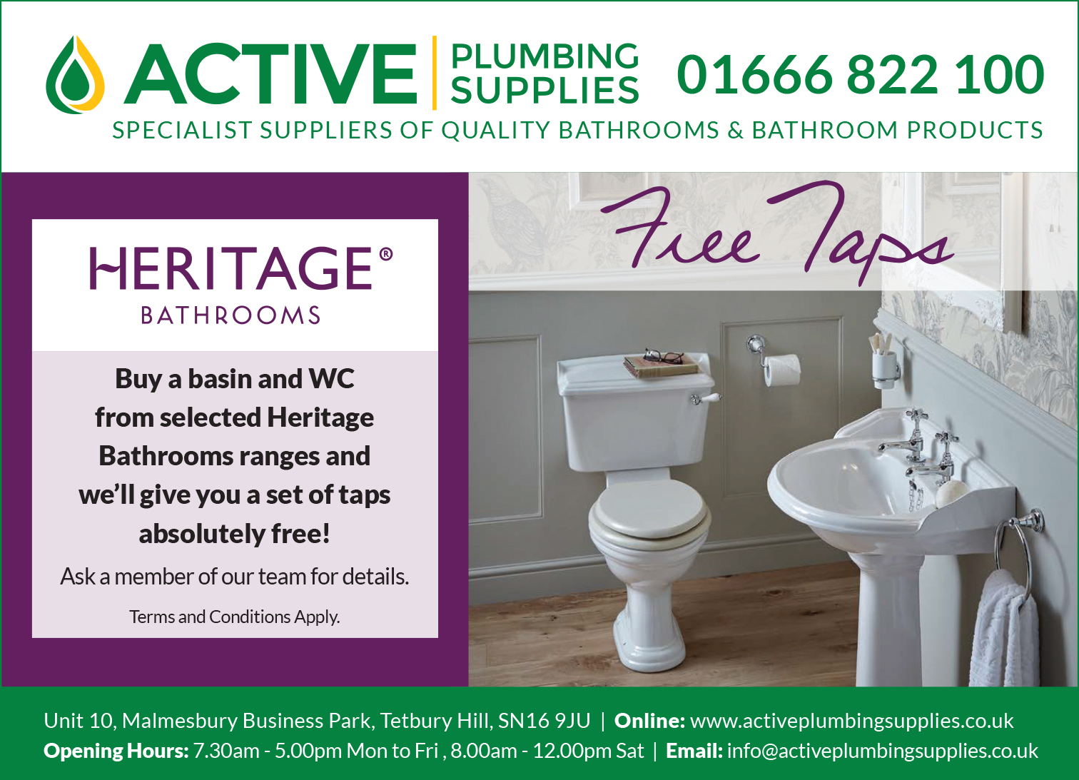 Heritage Bathrooms Free Taps Special Offer